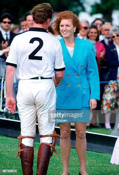 Sarah Duchess of York with James Hewitt at a fund raising polo match in aid of the Gulf Trust