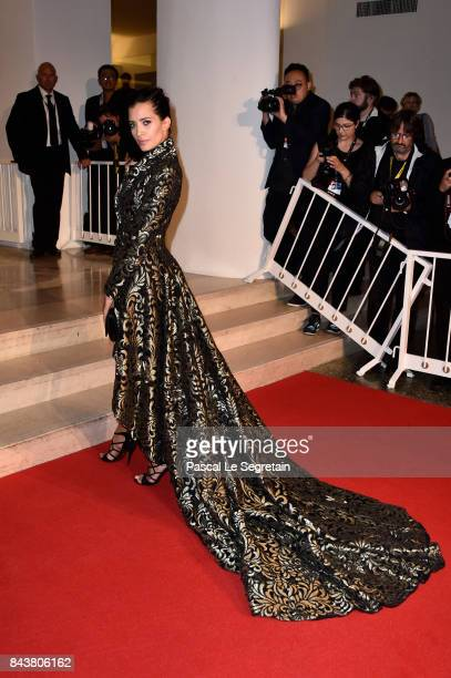 Sarah Duque walks the red carpet ahead of the 'Mektoub My Love Canto Uno' screening during the 74th Venice Film Festival at Sala Grande on September...