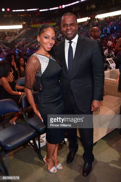 Sarah Elizabeth Reed and Kasim Reed attend the 2017 Andrew Young International Leadership awards and 85th Birthday tribute at Philips Arena on June 3...