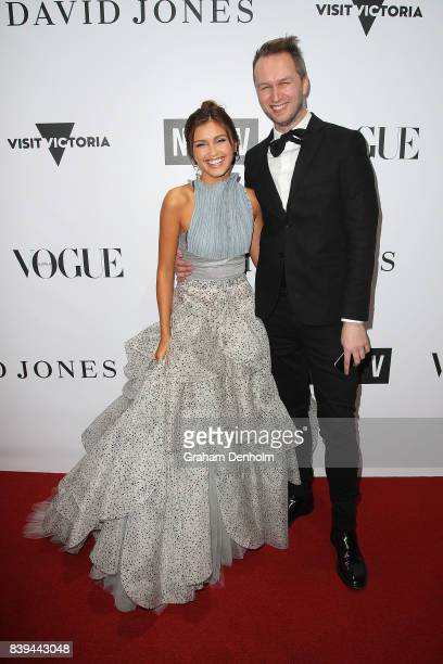 Sarah Ellen and Toni Maticevski arrive ahead of the NGV Gala at NGV International on August 26 2017 in Melbourne Australia
