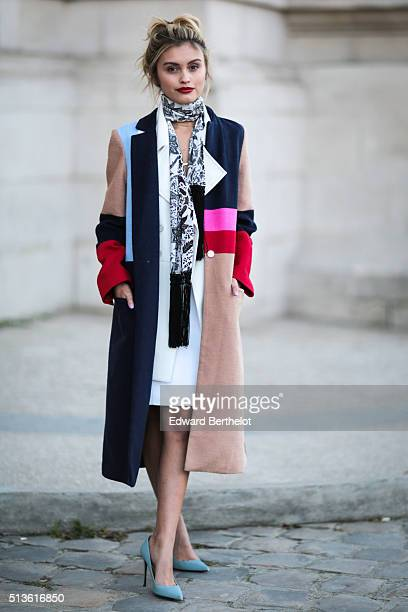 Sarah Ellen is seen wearing Barbara Bui after the Barbara Bui show during Paris Fashion Week Womenswear Fall Winter 2016/2017 on March 3 2016 in...