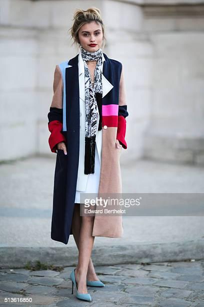Sarah Ellen is seen wearing Barbara Bui after the Barbara Bui show during Paris Fashion Week Womenswear Fall Winter 2016/2017 on March 3 2016 in...