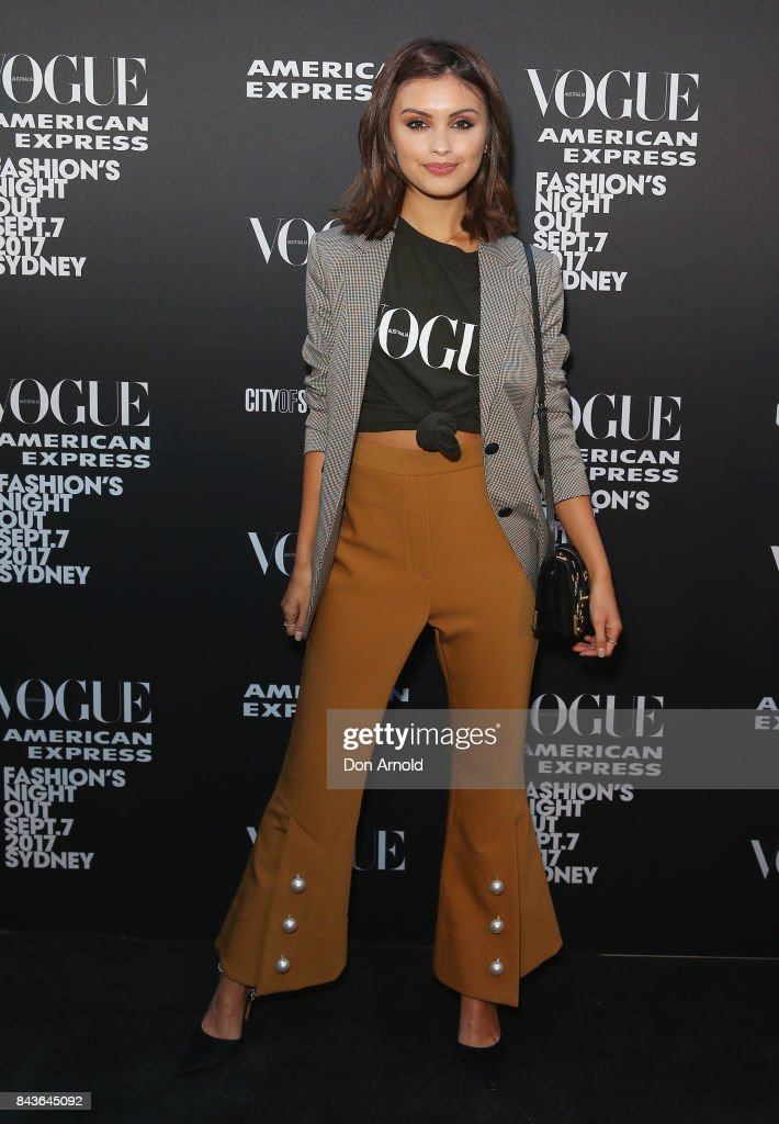 Sarah Ellen poses during Vogue American Express Fashion's Night Out 2017 on September 7, 2017 in Sydney, Australia.