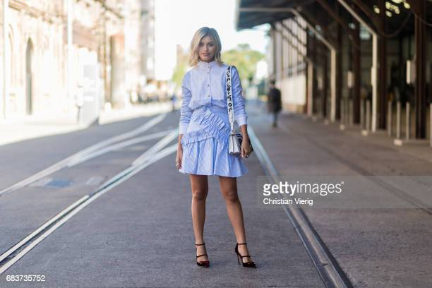 Sarah Ellen wearing a blue dress heels at day 3 during MercedesBenz Fashion Week Resort 18 Collections at Carriageworks on May 16 2017 in Sydney...