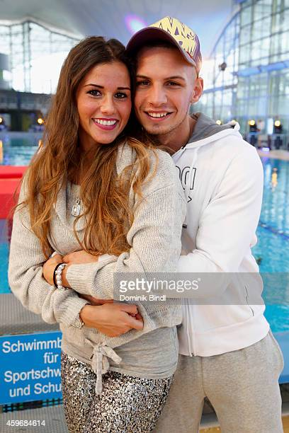 Sarah Engels and Pietro Lombardi attend the TV Total Turmpringen photocall on November 28 2014 in Munich Germany