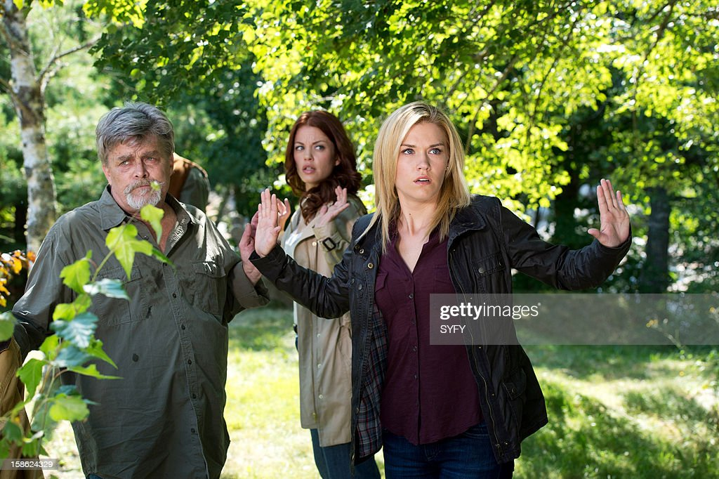 HAVEN -- 'Sarah' Episode 309 -- Pictured: (l-r) Nicholas Campbell Chief of Police Wuornos, Bree Williamson as Claire Callahan, Emily Rose as Audrey Parker --