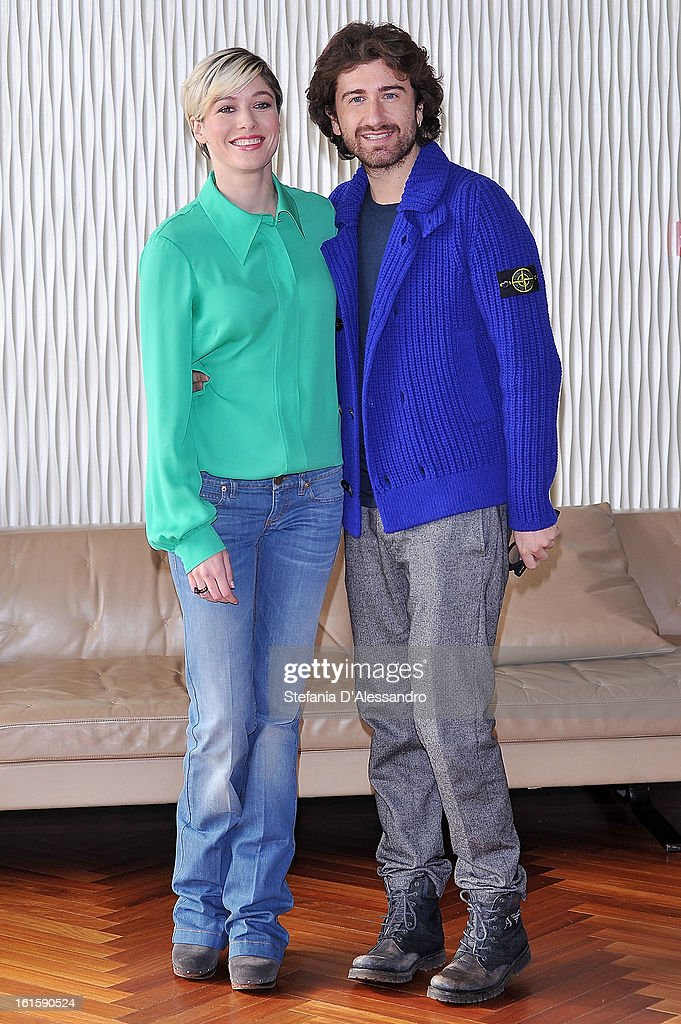 <a gi-track='captionPersonalityLinkClicked' href=/galleries/search?phrase=Sarah+Felberbaum&family=editorial&specificpeople=5823949 ng-click='$event.stopPropagation()'>Sarah Felberbaum</a> and Alessandro Siani attend 'Il Principe Abusivo' Photocall at Terrazza Martini on February 12, 2013 in Milan, Italy.