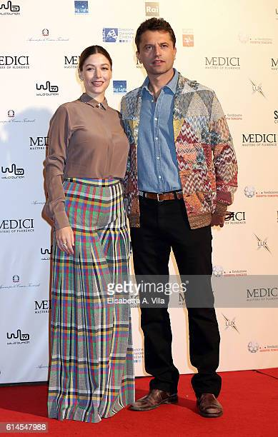 Sarah Felberbaum and Guido Caprino attend a photocall for 'I Medici' at Palazzo Vecchio on October 14 2016 in Florence Italy