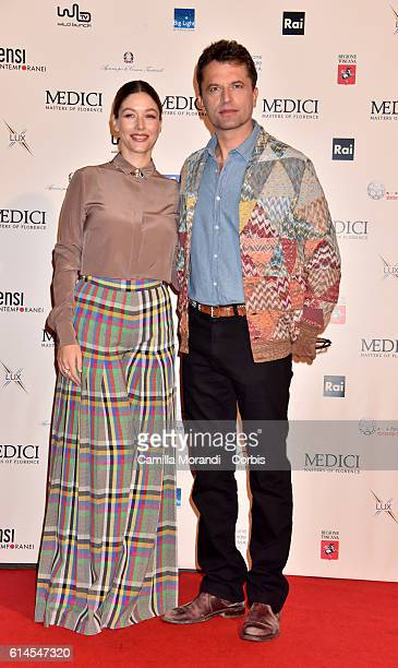 Sarah Felberbaum and Guido Caprino attends a photocall for 'I Medici' on October 14 2016 in Florence Italy