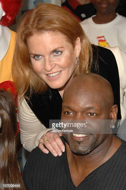 Sarah Ferguson and Emmitt Smith during Sarah Furguson and the Finalists Of 'Dancing With The Stars' Visit The Ronald McDonald House November 16 2006...