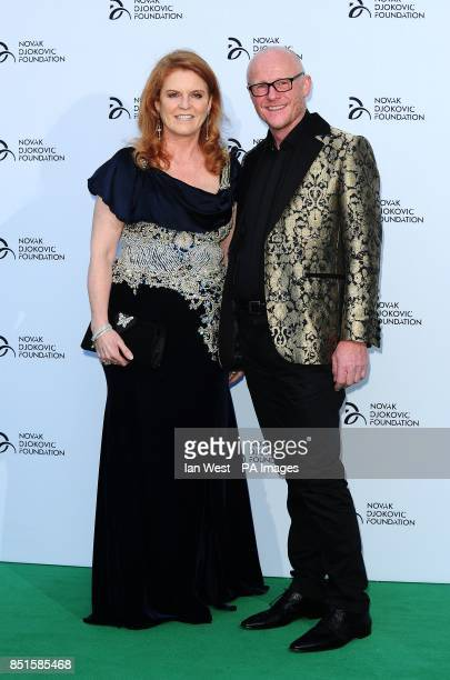 Sarah Ferguson and John Caudwell attend the Novak Djokovic Foundation party at the Roundhouse in London