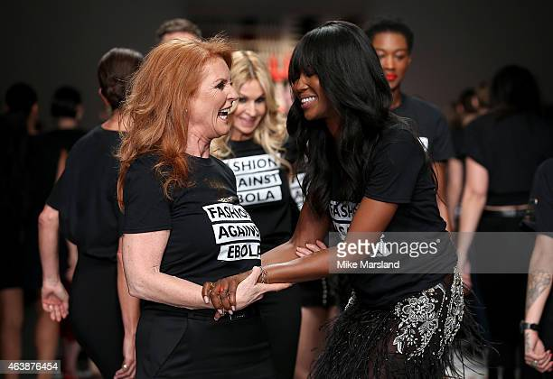 Sarah Ferguson and Naomi Campbell walk the runway at the Fashion For Relief charity fashion show to kick off London Fashion Week Fall/Winter 2015/16...