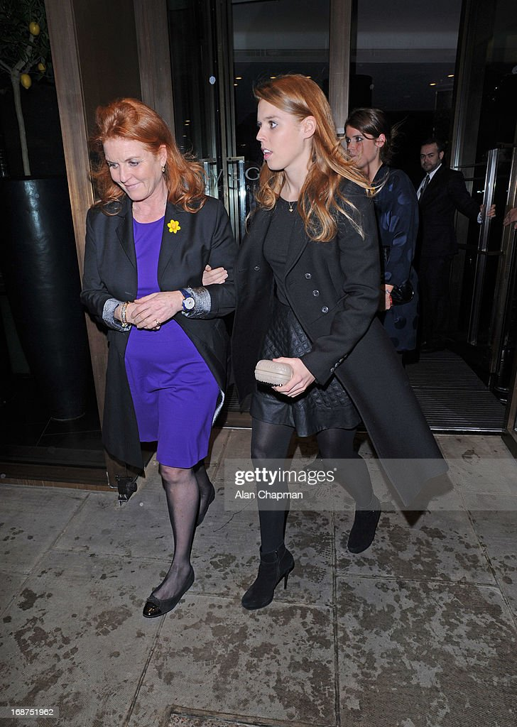<a gi-track='captionPersonalityLinkClicked' href=/galleries/search?phrase=Sarah+Ferguson+-+Duchess+of+York&family=editorial&specificpeople=160596 ng-click='$event.stopPropagation()'>Sarah Ferguson</a> and Princess Beatrice Princess Eugine sighting leaving the Bulgari Hotel following the Marie Curie charity auction on May 14, 2013 in London, England.