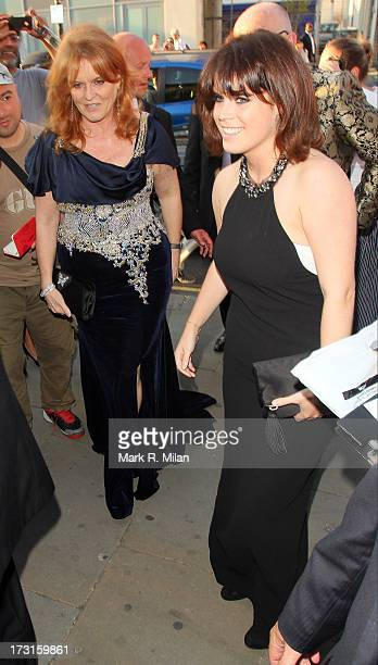 Sarah Ferguson and Princess Eugenie attends the Novak Djokovic Foundation London gala dinner on July 8 2013 in London England