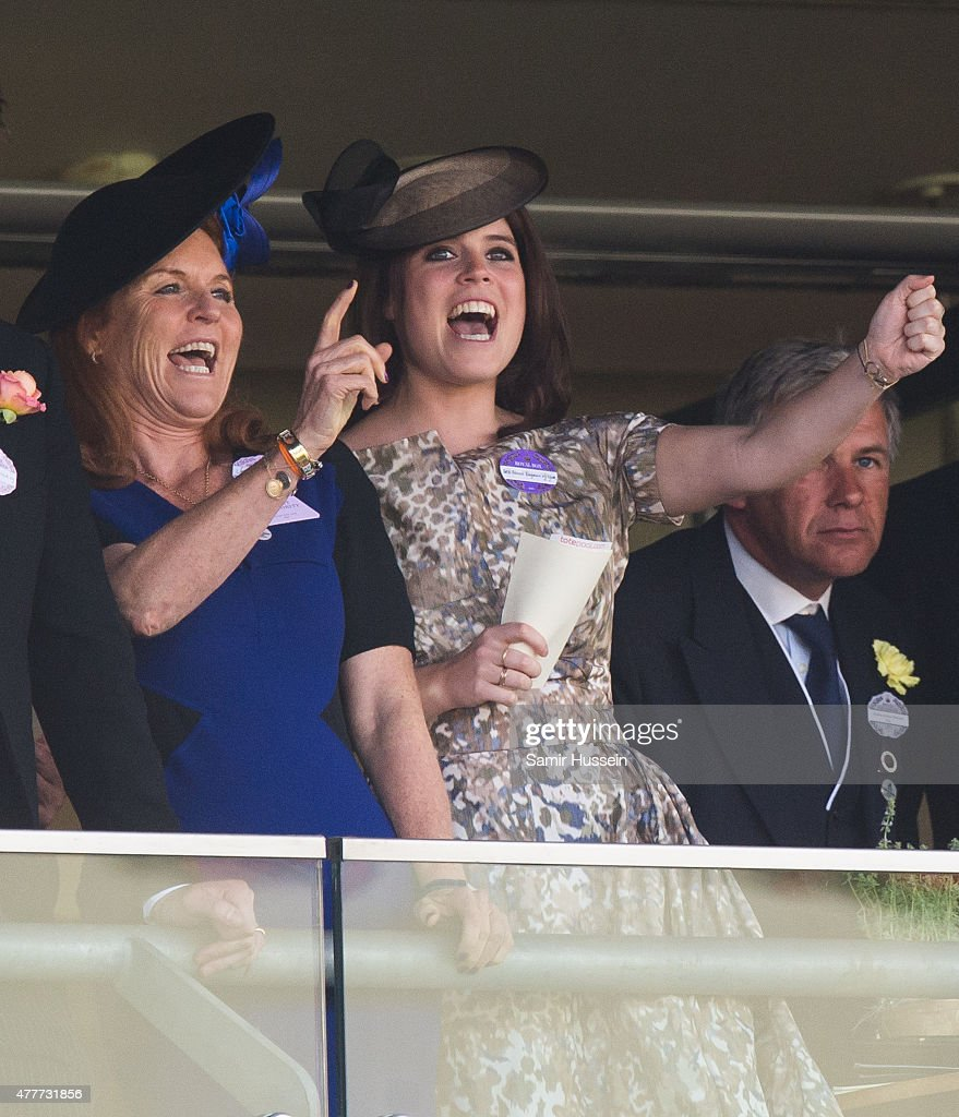 Sarah Ferguson and Princess Eugenie of York watch the races during day 4 of Royal Ascot at Ascot Racecourse on June 19, 2015 in Ascot, England.