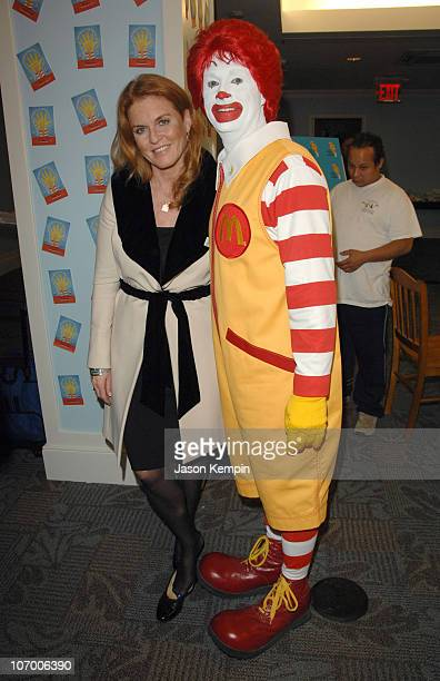 Sarah Ferguson and Ronald McDonald during Sarah Furguson and the Finalists Of 'Dancing With The Stars' Visit The Ronald McDonald House November 16...