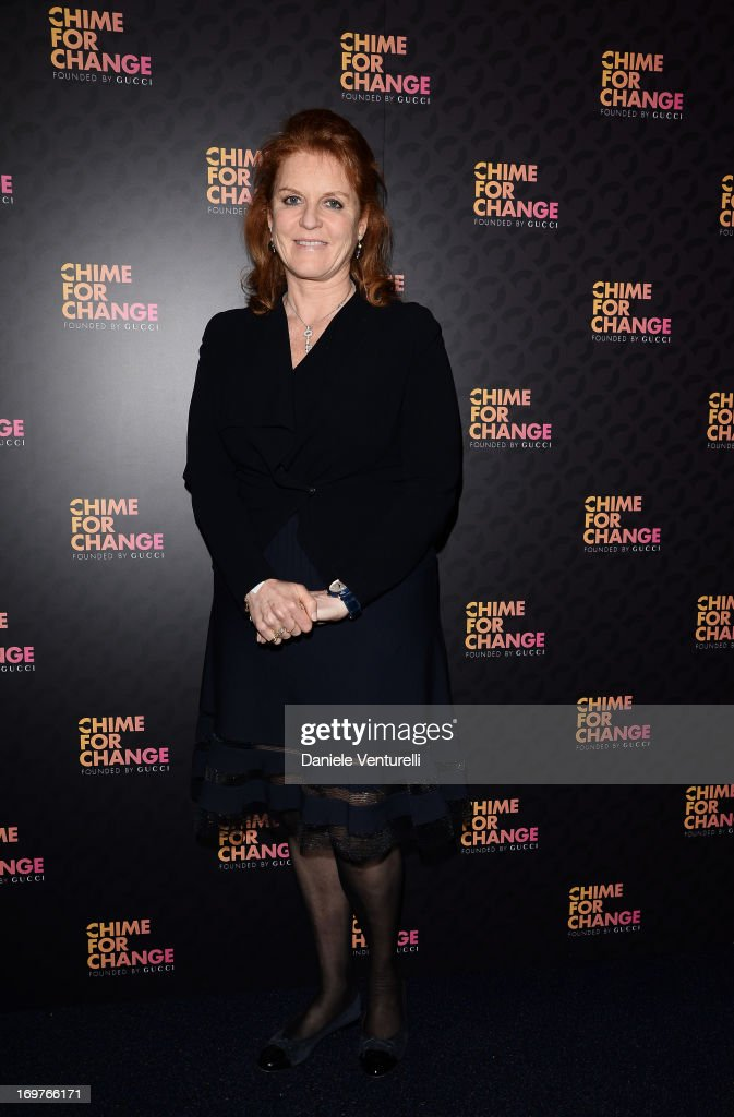 <a gi-track='captionPersonalityLinkClicked' href=/galleries/search?phrase=Sarah+Ferguson+-+Duchess+of+York&family=editorial&specificpeople=160596 ng-click='$event.stopPropagation()'>Sarah Ferguson</a> arrives at the Royal Box photo wall ahead of the 'Chime For Change: The Sound Of Change Live' Concert at Twickenham Stadium on June 1, 2013 in London, England. Chime For Change is a global campaign for girls' and women's empowerment founded by Gucci with a founding committee comprised of Gucci Creative Director Frida Giannini, Salma Hayek Pinault and Beyonce Knowles-Carter.