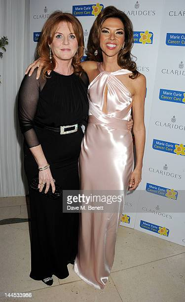 Sarah Ferguson Duchess of York and Heather Kerzner attend the Marie Curie Cancer Fundraiser hosted by Heather Kerzner at Claridge's Hotel on May 15...