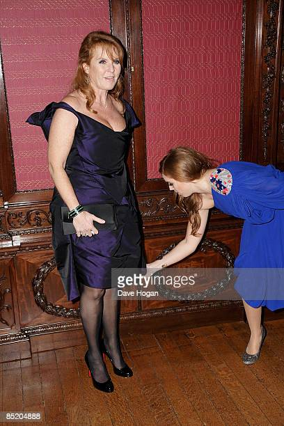 Sarah Ferguson Duchess of York and her daughter Princess Eugenie attend the world premiere afterparty for 'The Young Victoria' held at Kensington...