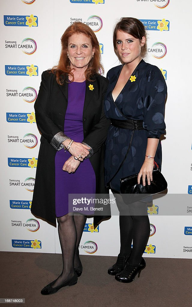 <a gi-track='captionPersonalityLinkClicked' href=/galleries/search?phrase=Sarah+Ferguson+-+Duchess+of+York&family=editorial&specificpeople=160596 ng-click='$event.stopPropagation()'>Sarah Ferguson</a>, Duchess of York (L) and <a gi-track='captionPersonalityLinkClicked' href=/galleries/search?phrase=Princess+Eugenie&family=editorial&specificpeople=160237 ng-click='$event.stopPropagation()'>Princess Eugenie</a> of York attend the launch of Samsung's NX Smart Camera at a charity auction with David Bailey in aid of Marie Curie Cancer Care at the Bulgari Hotel on May 14, 2013 in London, England.