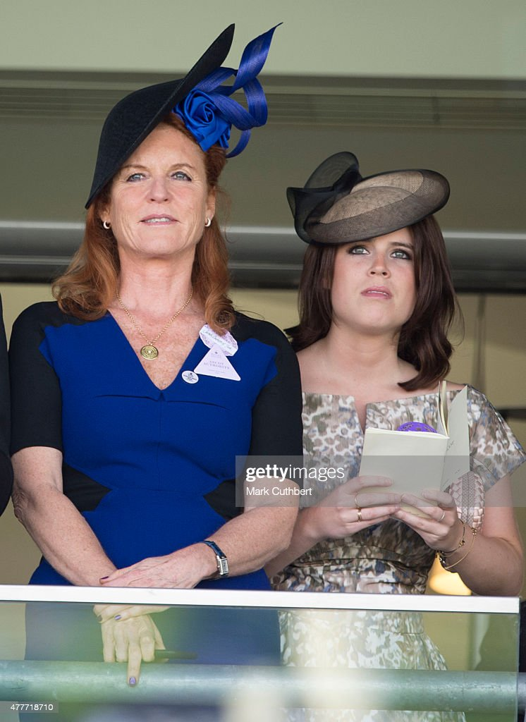 Sarah Ferguson, Duchess of York and Princess Eugenie on day 4 of Royal Ascot at Ascot Racecourse on June 19, 2015 in Ascot, England.