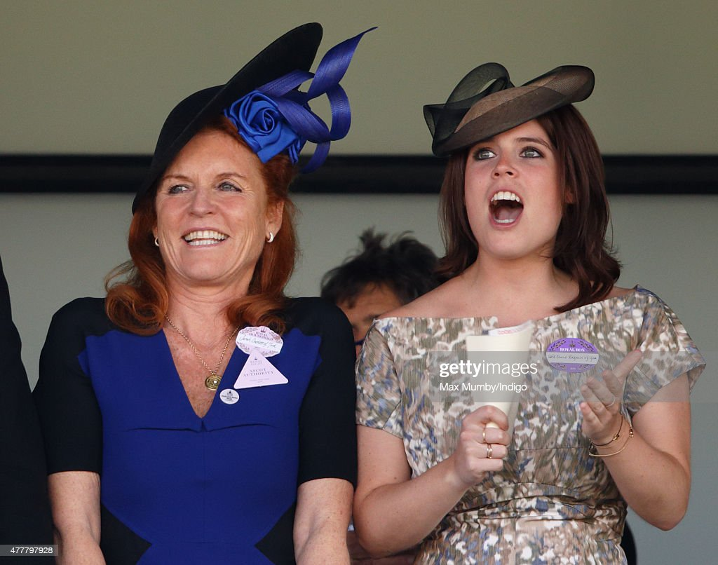 Sarah Ferguson, Duchess of York and Princess Eugenie watch the racing as they attend day 4 of Royal Ascot at Ascot Racecourse on June 19, 2015 in Ascot, England.