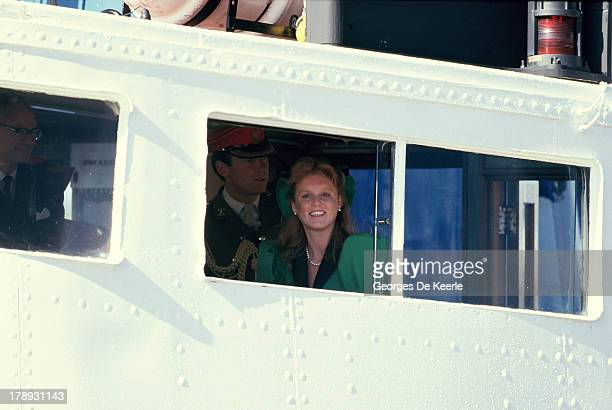 Sarah Ferguson Duchess of York arrives in Scrabster for the annual summer holiday In Scotland on August 15 1986 in Scrabster Scotland