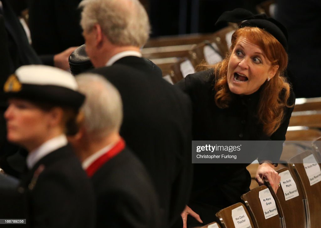 <a gi-track='captionPersonalityLinkClicked' href=/galleries/search?phrase=Sarah+Ferguson+-+Duchess+of+York&family=editorial&specificpeople=160596 ng-click='$event.stopPropagation()'>Sarah Ferguson</a>, Duchess of York attends the Ceremonial funeral of former British Prime Minister Baroness Thatcher at St Paul's Cathedral on April 17, 2013 in London, England. Dignitaries from around the world today join Queen Elizabeth II and Prince Philip, Duke of Edinburgh as the United Kingdom pays tribute to former Prime Minister Baroness Thatcher during a Ceremonial funeral with military honours at St Paul's Cathedral. Lady Thatcher, who died last week, was the first British female Prime Minister and served from 1979 to 1990.