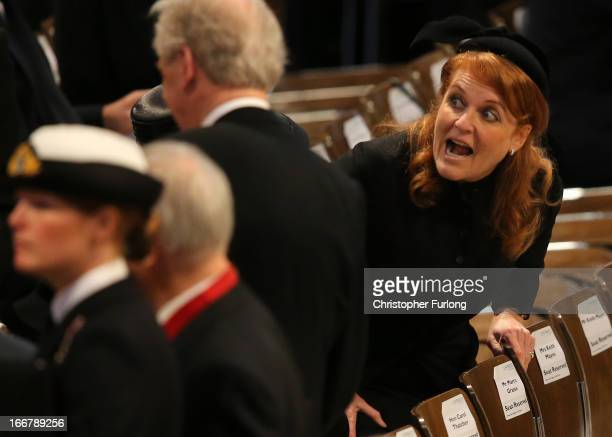 Sarah Ferguson Duchess of York attends the Ceremonial funeral of former British Prime Minister Baroness Thatcher at St Paul's Cathedral on April 17...