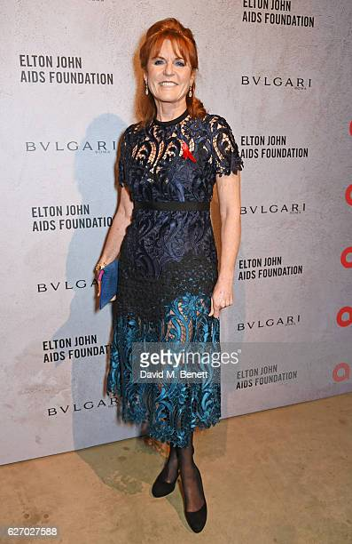 Sarah Ferguson Duchess of York attends 'The Radical Eye' dinner and private view for the Elton John Aids Foundation in association with Bulgari on...