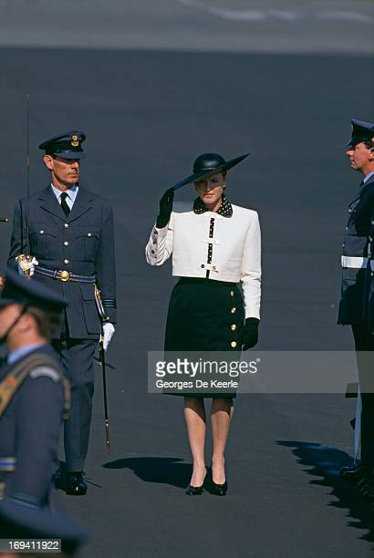 Sarah Ferguson Duchess of York inspecting The Guard Of Honour at RAF Gaton in Berlin Germany 25th May 1989