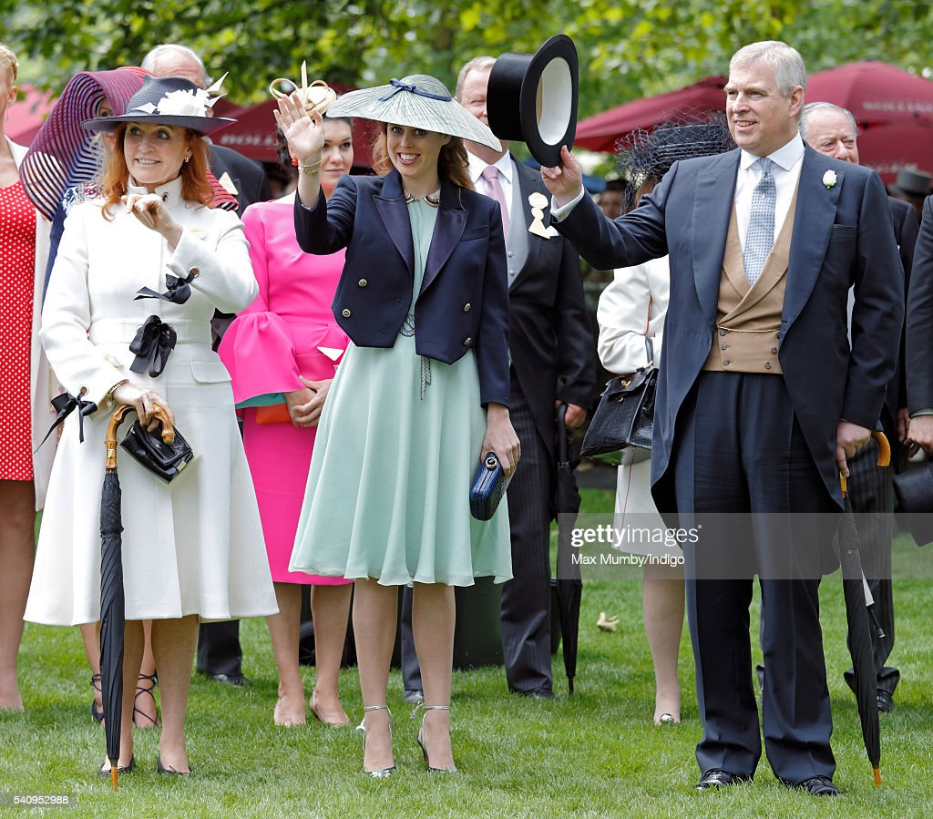 Sarah Ferguson, Duchess of York, Princess Beatrice and Prince Andrew, Duke of York attend day 4 of Royal Ascot at Ascot Racecourse on June 17, 2016 in Ascot, England.