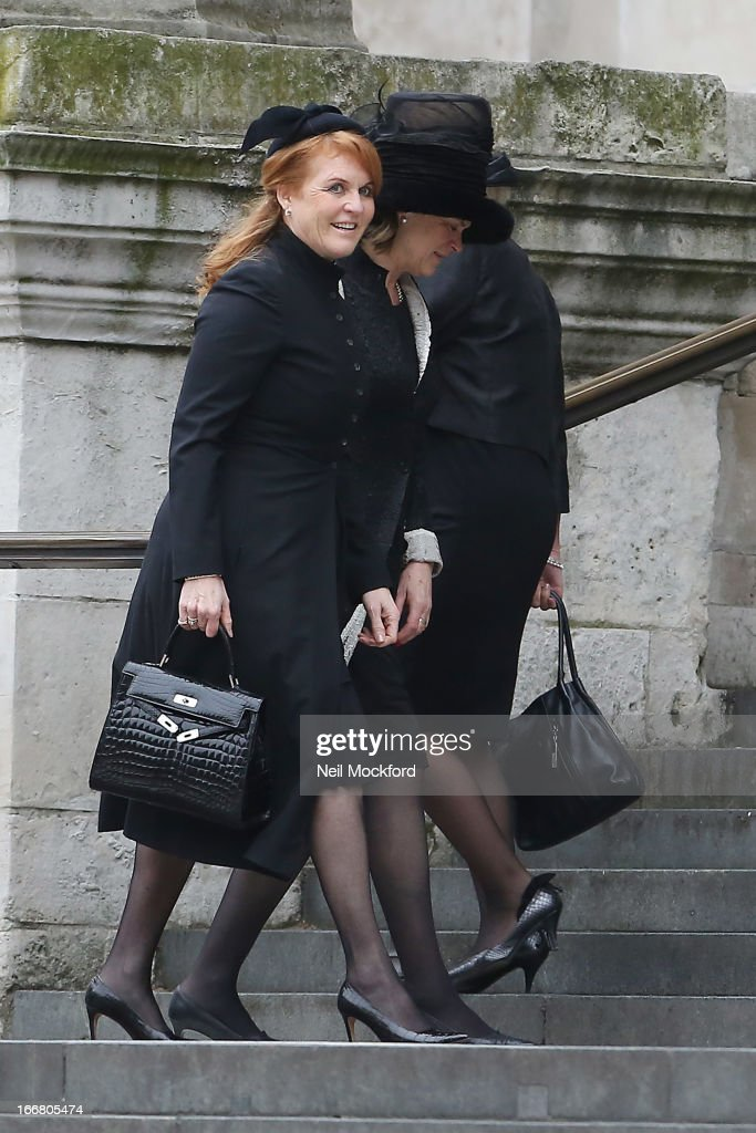 <a gi-track='captionPersonalityLinkClicked' href=/galleries/search?phrase=Sarah+Ferguson+-+Duchess+of+York&family=editorial&specificpeople=160596 ng-click='$event.stopPropagation()'>Sarah Ferguson</a>, Duchess of York seen attending Baroness Thatcher's Funeral at St Paul's Cathedral on April 17, 2013 in London, England.
