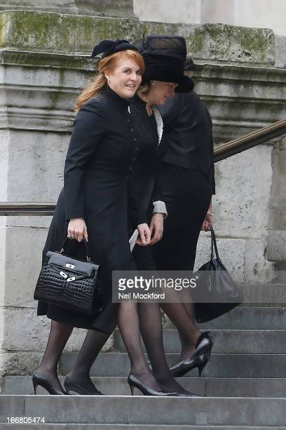 Sarah Ferguson Duchess of York seen attending Baroness Thatcher's Funeral at St Paul's Cathedral on April 17 2013 in London England
