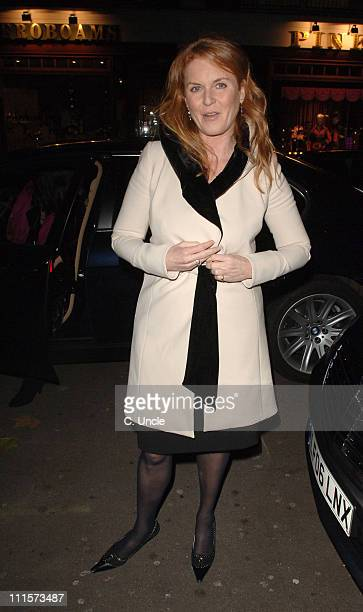 Sarah Ferguson during Sarah Ferguson with Daughters Eugenie and Beatrice Sighting in London December 5 2006 at Cipriani's in London Great Britain