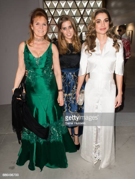 Sarah Ferguson Princess Beatrice of York and Queen Rania attends the Fashion for Relief event during the 70th annual Cannes Film Festival at Aeroport...