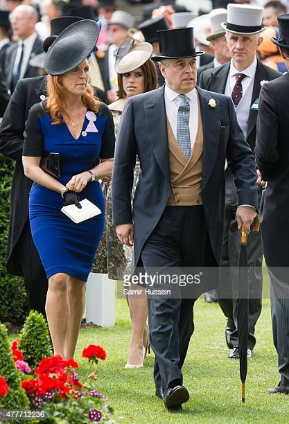 Sarah Ferguson Princess Eugenie of York and Prince Andrew Duke of York attend day 4 of Royal Ascot at Ascot Racecourse on June 19 2015 in Ascot...