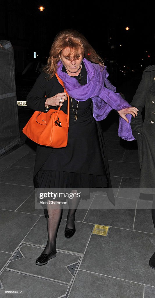 Sarah Ferguson seen arriving at Scott's Restaurant Mayfair on April 17, 2013 in London, England.