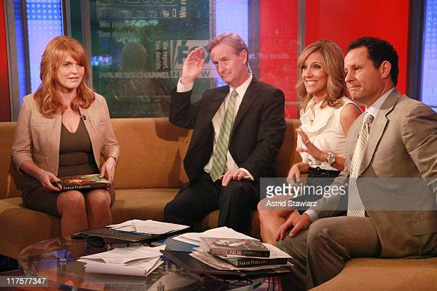 Sarah Ferguson talks to hosts Steve Doocy Alisyn Camerota and Brian Kilmeade during a taping of 'FOX Friends' at FOX Studios on June 28 2011 in New...
