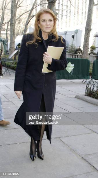 Sarah Ferguson the Duchess of York during MercedesBenz 2007 Fall Fashion Week Seen Around Bryant Park Day 6 at Bryant Park in New York City New York...