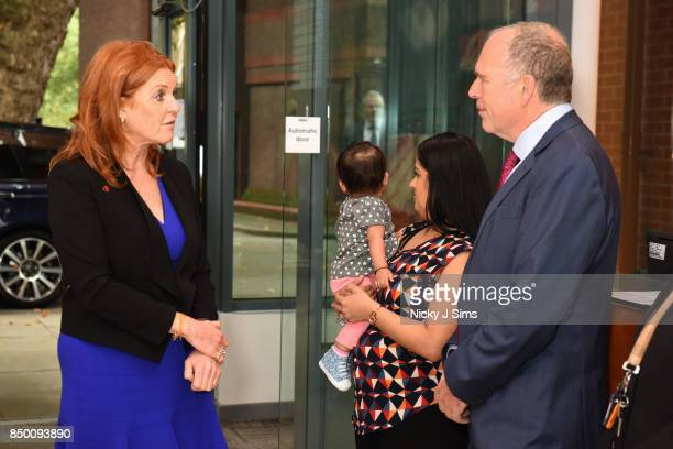 Sarah Ferguson The Duchess of York meets baby Aarya Ghelani mother Bina Ghelani and Steve Thornton Vice Principal For Health as she is appointed as...