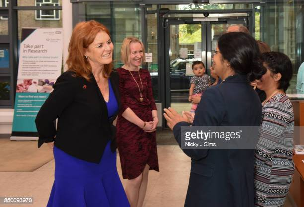 Sarah Ferguson The Duchess of York speaks with Professor Amrita Ahluwalia William Harvey Research Institute CoDirector on the day that she is...