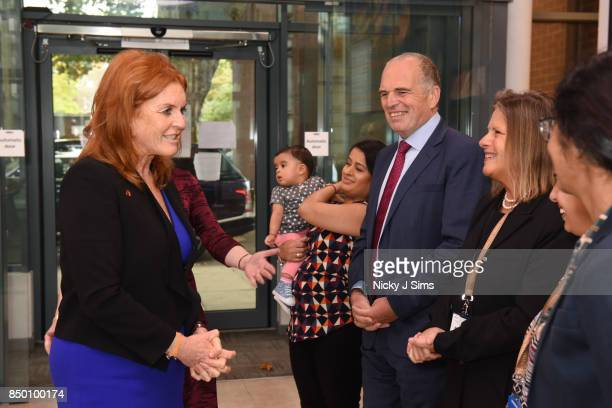 Sarah Ferguson The Duchess of York speaks with Steve Thornton Vice Principal For Health and Professor Federica MarelliBerg on the day that she is...