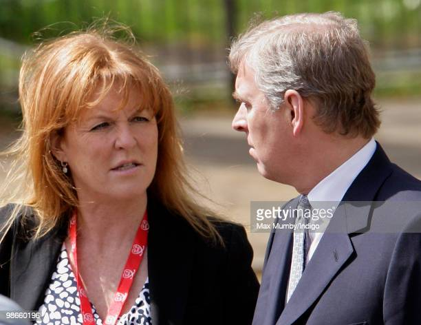 Sarah Ferguson The Duchess of York talks with exhusband HRH Prince Andrew The Duke of York as they wait for daughter HRH Princess Beatrice of York to...