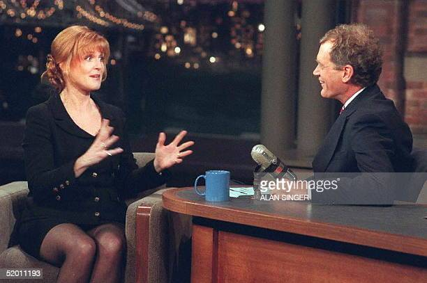 Sarah Ferguson the Dutchess of York gestures while appearing with David Letterman during the taping of 'Late Show with David Letterman'' 18 November...