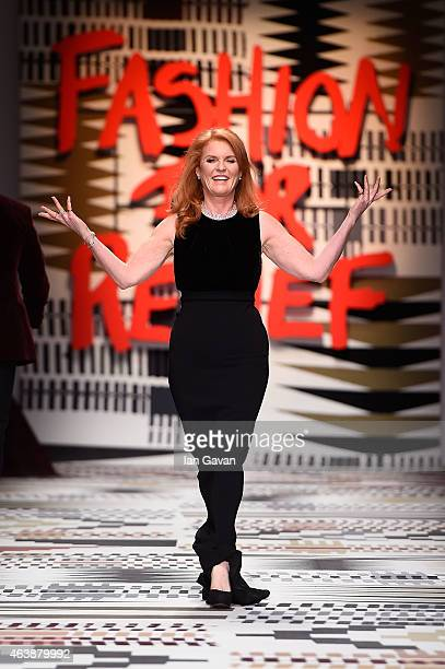 Sarah Ferguson walks the runway at the Fashion For Relief charity fashion show to kick off London Fashion Week Fall/Winter 2015/16 at Somerset House...