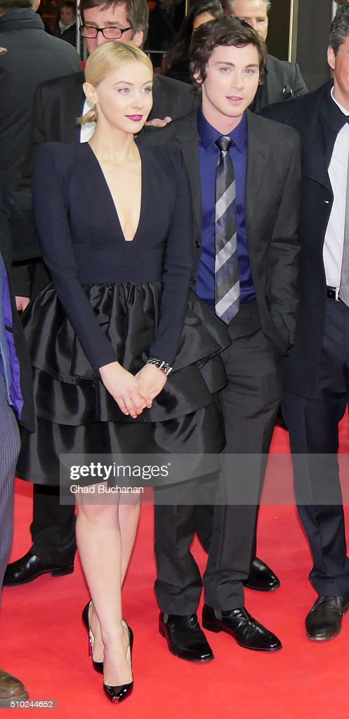 Sarah Gadon and Logan Lerman attend the 'Indignation' premiere during the 66th Berlinale International Film Festival Berlin at Zoo Palast on February 14, 2016 in Berlin, Germany.