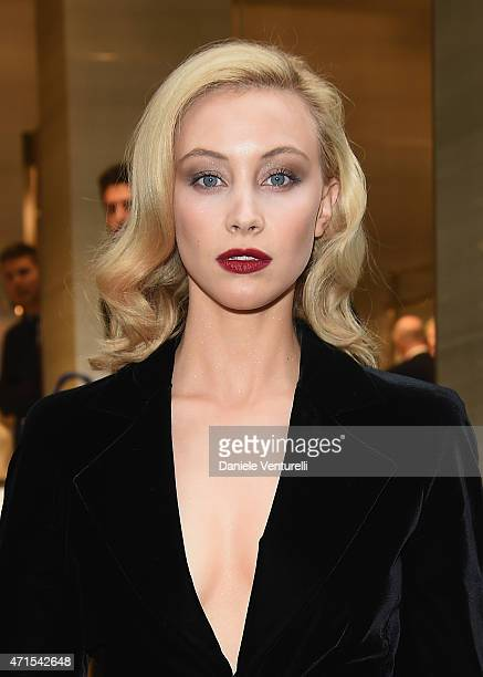Sarah Gadon attends the Giorgio Armani 40th Anniversary Boutique Cocktail Reception on April 29 2015 in Milan Italy