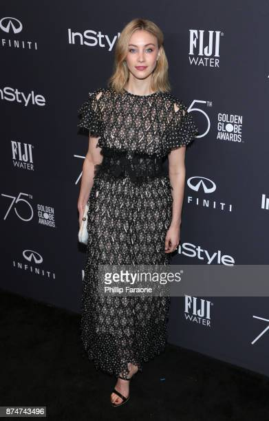 Sarah Gadon attends the HFPA's and InStyle's Celebration of the 2018 Golden Globe Awards Season and the Unveiling of the Golden Globe Ambassador at...