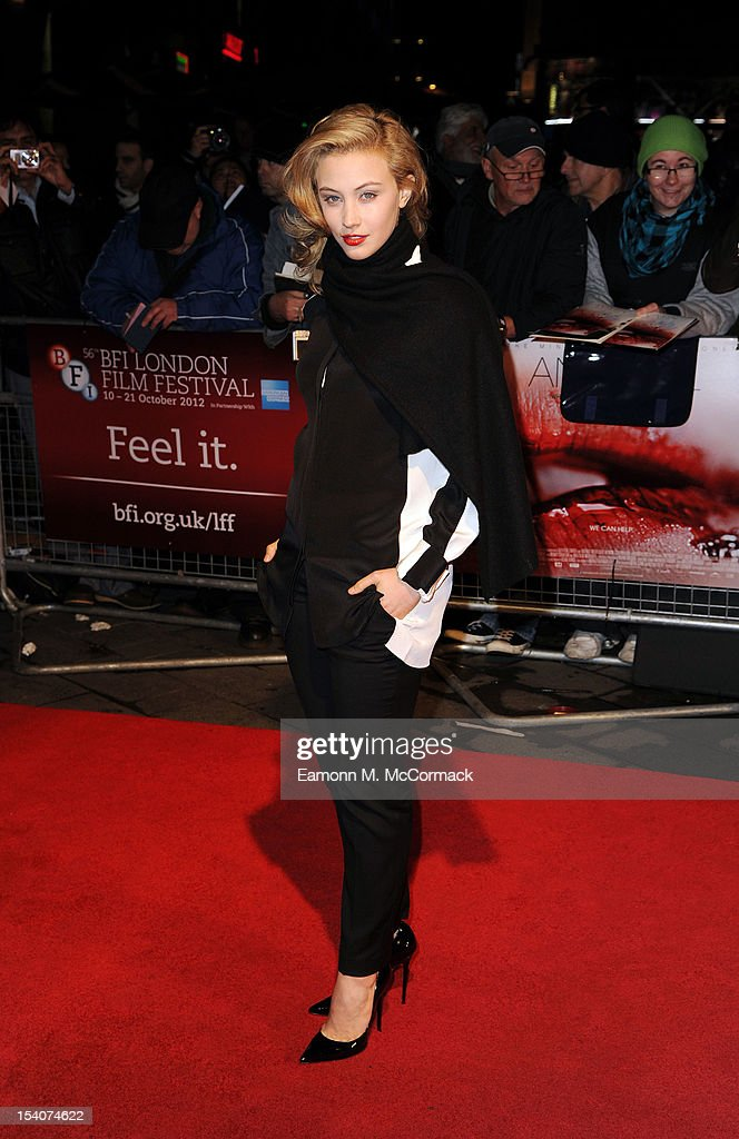 Sarah Gadon attends the premiere of 'Antiviral' during the 56th BFI London Film Festival at Odeon West End on October 13, 2012 in London, England.